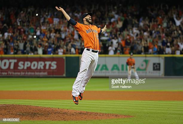 Mike Fiers of the Houston Astros celebrates after tossing a nohitter en route to the Astros defeating the Los Angeles Dodgers 30 at Minute Maid Park...
