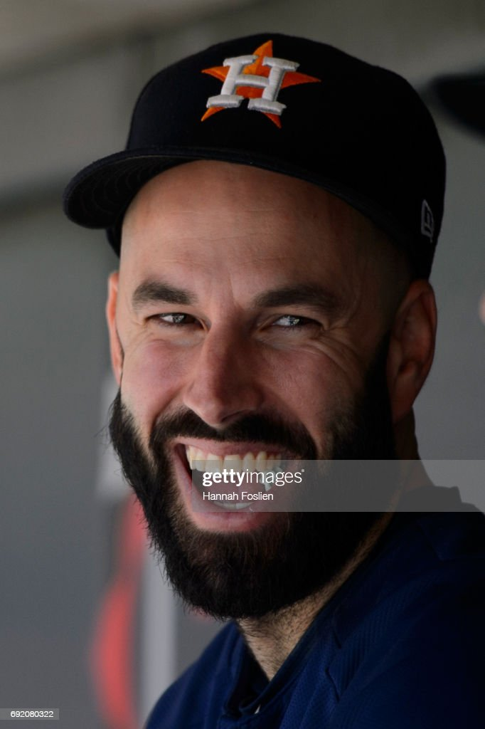 Mike Fiers #54 of the Houston Astros looks on during the game against the Minnesota Twins on May 31, 2017 at Target Field in Minneapolis, Minnesota. The Astros defeated the Twins 17-6.