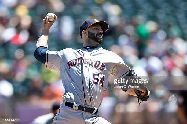 Mike Fiers of the Houston Astros pitches against the Oakland Athletics during the first inning at Oco Coliseum on August 9 2015 in Oakland California