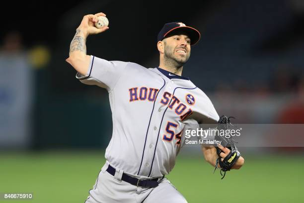 Mike Fiers of the Houston Astros pitches during the first inning of a game against the Los Angeles Angels of Anaheim at Angel Stadium of Anaheim on...