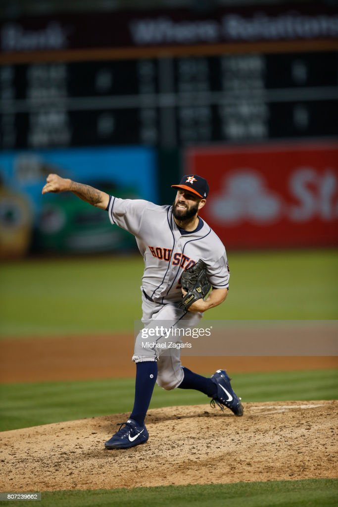 Mike Fiers #54 of the Houston Astros pitches during the game against the Oakland Athletics at the Oakland Alameda Coliseum on June 21, 2017 in Oakland, California. The Astros defeated the Athletics 5-1.