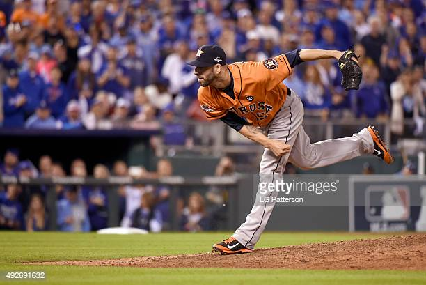Mike Fiers of the Houston Astros pitches Game 5 of the ALDS against the Kansas City Royals at Kauffman Stadium on Wednesday October 14 2015 in Kansas...