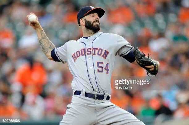 Mike Fiers of the Houston Astros pitches in the first inning against the Baltimore Orioles at Oriole Park at Camden Yards on July 21 2017 in...