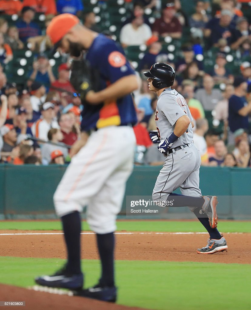 Mike Fiers #54 of the Houston Astros reacts to allowing a two-run home run to Ian Kinsler #3 of the Detroit Tigers during the fifth inning of their game at Minute Maid Park on April 17, 2016 in Houston, Texas.