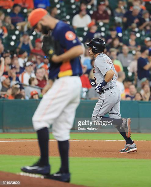 Mike Fiers of the Houston Astros reacts to allowing a two-run home run to Ian Kinsler of the Detroit Tigers during the fifth inning of their game at...