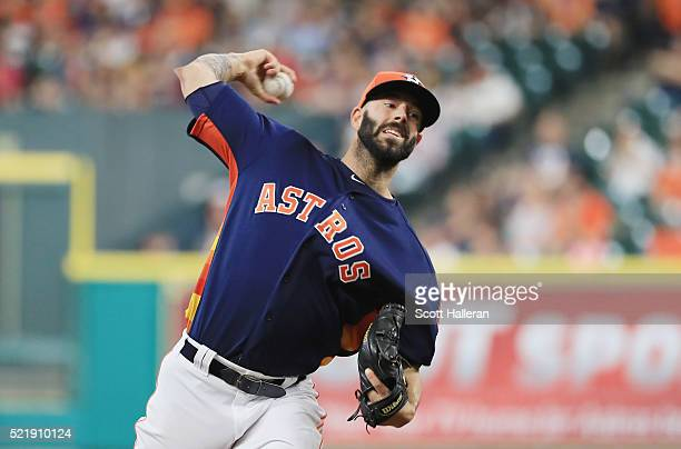 Mike Fiers of the Houston Astros throws a pitch during the first inning of their game against the Detroit Tigers at Minute Maid Park on April 17 2016...