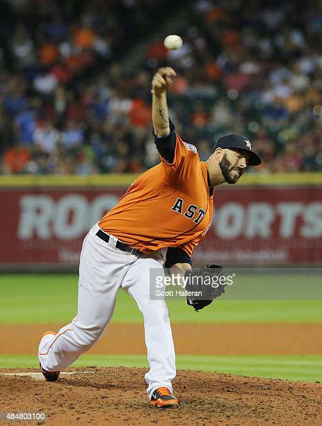 Mike Fiers of the Houston Astros throws a pitch in the eighth inning during their game against the Los Angeles Dodgers at Minute Maid Park on August...