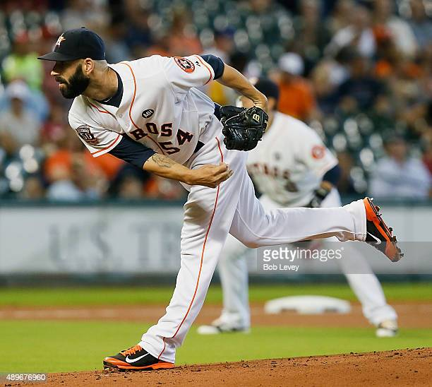 Mike Fiers of the Houston Astros throws in the first inning against the Los Angeles Angels of Anaheim at Minute Maid Park on September 23 2015 in...