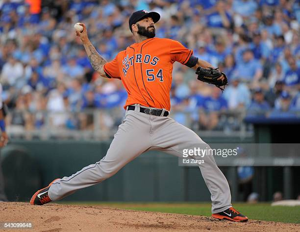 Mike Fiers of the Houston Astros throws in the fourth inning against the Kansas City Royals at Kauffman Stadium on June 25 2016 in Kansas City...