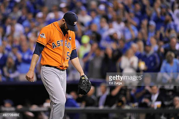 Mike Fiers of the Houston Astros walks back to the dugout after the fifth inning against the Kansas City Royals during game five of the American...