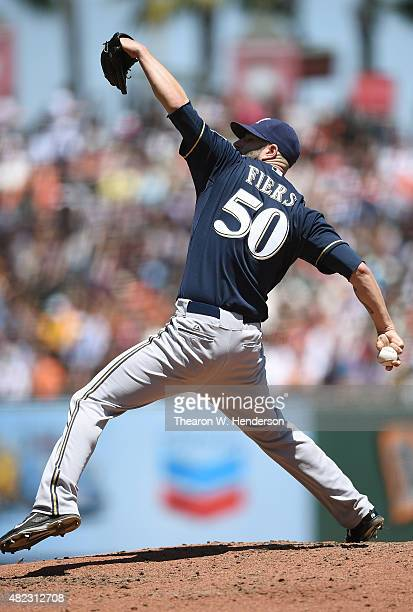 Mike Fiers of the Milwaukee Brewers pitches against the San Francisco Giants in the bottom of the second inning at ATT Park on July 29 2015 in San...