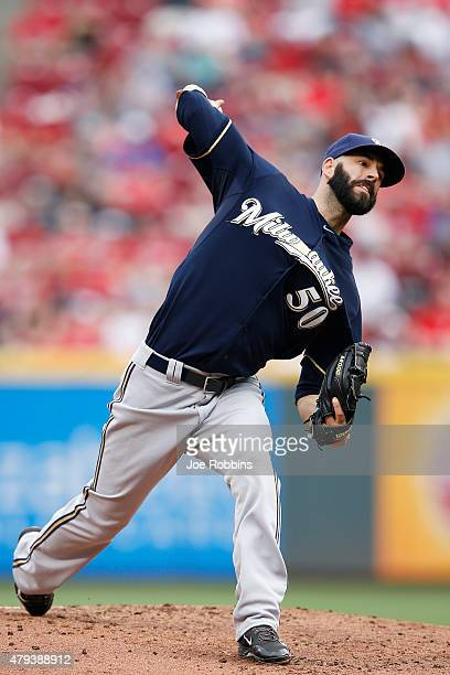 Mike Fiers of the Milwaukee Brewers pitches in the first inning against the Cincinnati Reds at Great American Ball Park on July 3 2015 in Cincinnati...