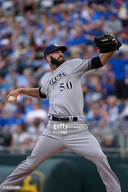 Mike Fiers of the Milwaukee Brewers throws against the Kansas City Royals at Kauffman Stadium on June 17 2015 in Kansas City Missouri