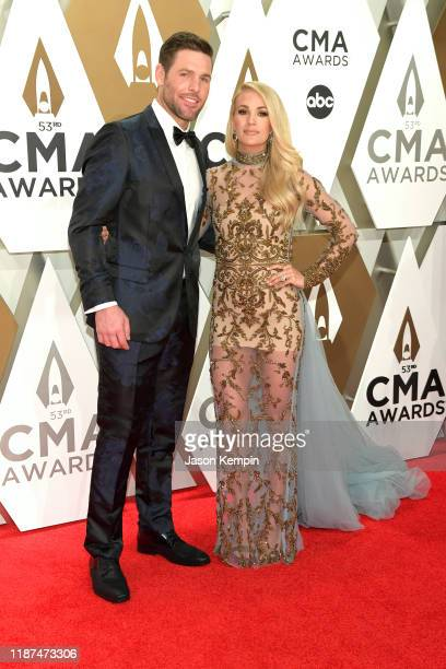 Mike Fisher and Carrie Underwood attend the 53rd annual CMA Awards at the Music City Center on November 13 2019 in Nashville Tennessee