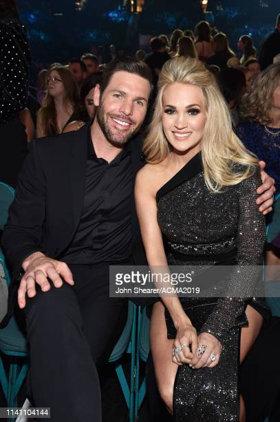 Mike Fisher and Carrie Underwood attend the 54th Academy Of Country Music Awards at MGM Grand Garden Arena on April 07 2019 in Las Vegas Nevada