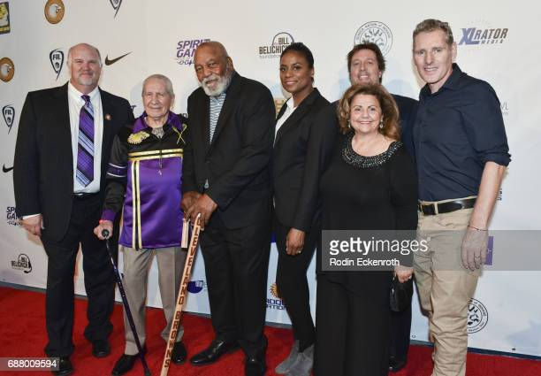 Mike Fisher Chief Oren Lyons Jim Brown Monique Brown Peter Spirer Gale Anne Kelley and Peter Baxter arrive at the premiere of 'Spirit Game Pride of A...
