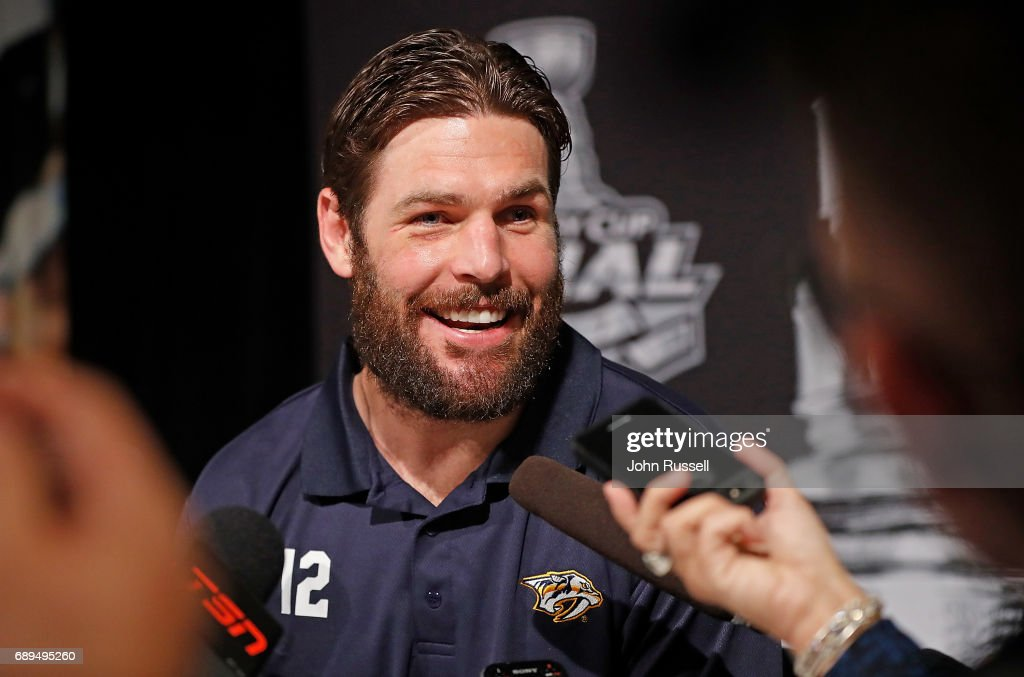 Mike Fisher #12 of the Nashville Predators answers question during Media Day for the 2017 NHL Stanley Cup Final at PPG Paints Arena on May 28, 2017 in Pittsburgh, Pennsylvania.