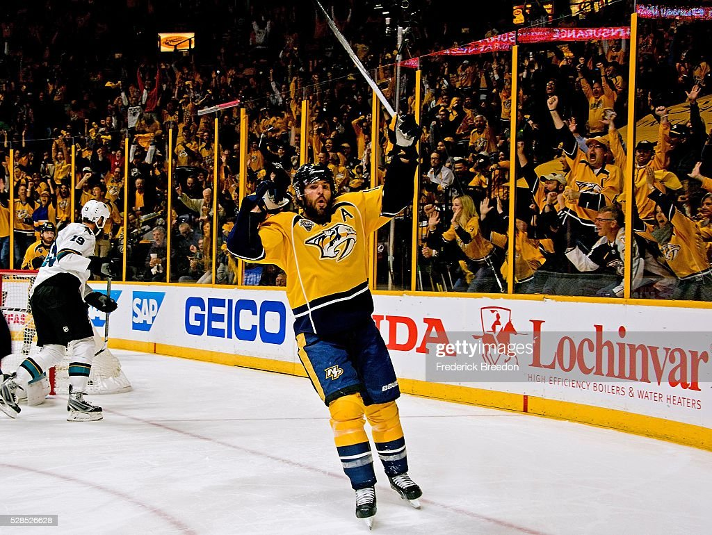 Mike Fisher #12 of the Nashville Predators reacts after scoring a goal against the San Jose Sharks during the first period of Game Four of the Western Conference Second Round during the 2016 NHL Stanley Cup Playoffs at Bridgestone Arena on May 5, 2016 in Nashville, Tennessee.