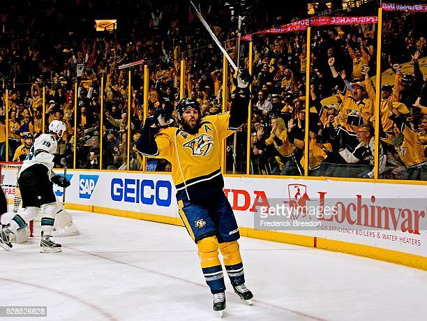 Mike Fisher of the Nashville Predators reacts after scoring a goal against the San Jose Sharks during the first period of Game Four of the Western...