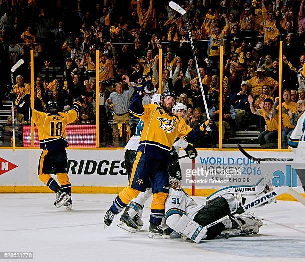 Mike Fisher of the Nashville Predators reacts after teammate James Neal scores the game tying goal against goalie Martin Jones of the San Jose Sharks...