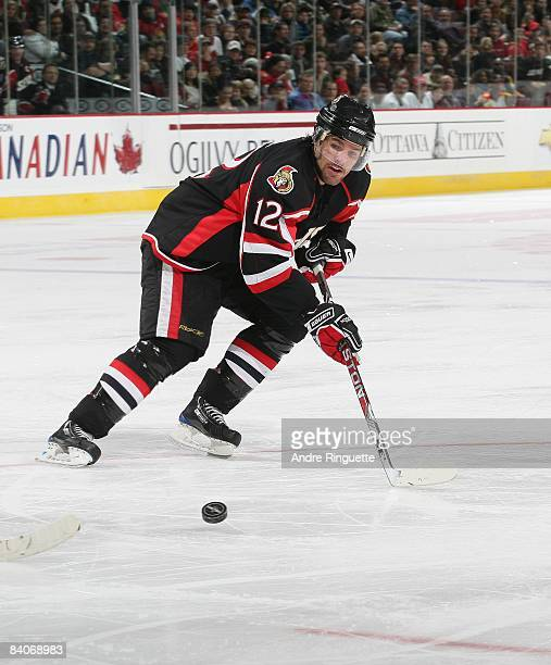 Mike Fisher of the Ottawa Senators skates against the Florida Panthers at Scotiabank Place on December 8 2008 in Ottawa Ontario Canada