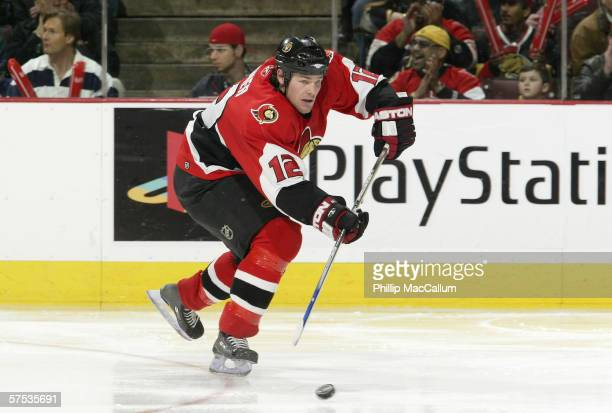 Mike Fisher of the Ottawa Senators skates with the puck during game 2 of the Eastern Conference Quarter Finals against the Tampa Bay Lightning on...