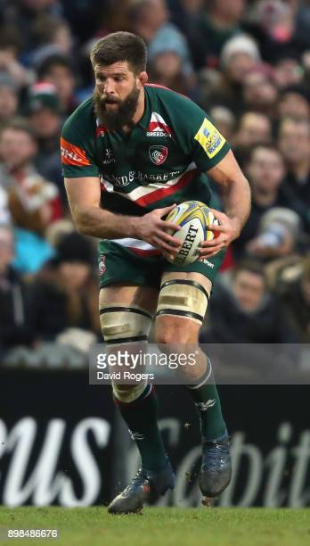 Mike Fitzgerald of Leicester runs with the ball during the Aviva Premiership match between Leicester Tigers and Saracens at Welford Road on December...