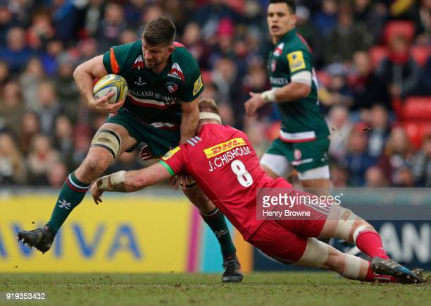Mike Fitzgerald of Leicester Tigers and James Chisholm of Harlequins during the Aviva Premiership match between Leicester Tigers and Harlequins at...