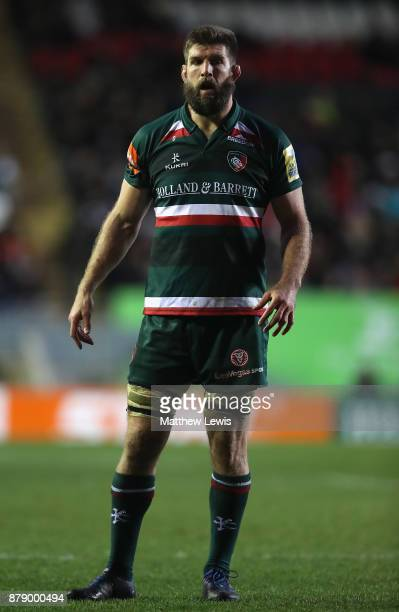 Mike Fitzgerald of Leicester Tigers in action during the Aviva Premiership match between Leicester Tigers and Worcester Warriors at Welford Road on...