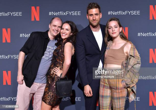 Mike Flanagan Kate Siegel Oliver JacksonCohen and Victoria Pedretti attend the Netflix FYSEE Event for Haunting of Hill House at Raleigh Studios on...