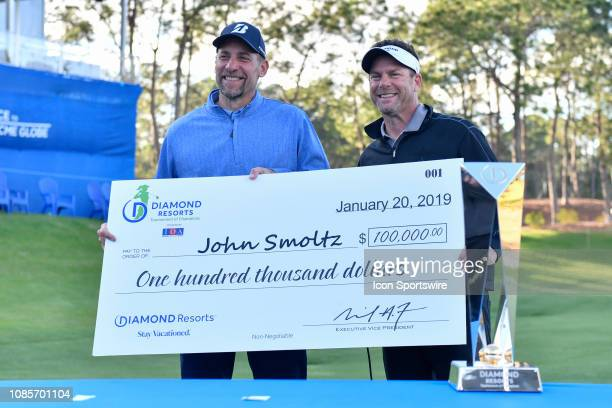 Mike Flaskey CEO of Diamond Resorts poses with John Smoltz after the final round of the Diamond Resorts Tournament of Champions on January 20 at...