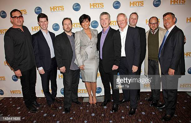 Mike Fleiss a guest Brent Montgomery Kris Jenner Tom Bergeron Bertram van Munster Conrad Green Eli Holzman and a guest attend The Hollywood Radio...