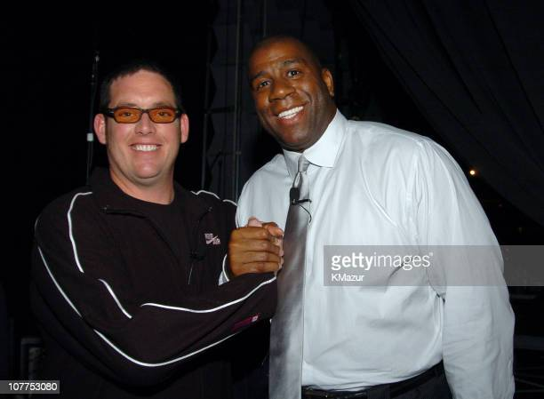Mike Fleiss and Magic Johnson 3836_098 during TBS/TNT Upfront Backstage April 22 2004 at Armory in New York City New York United States