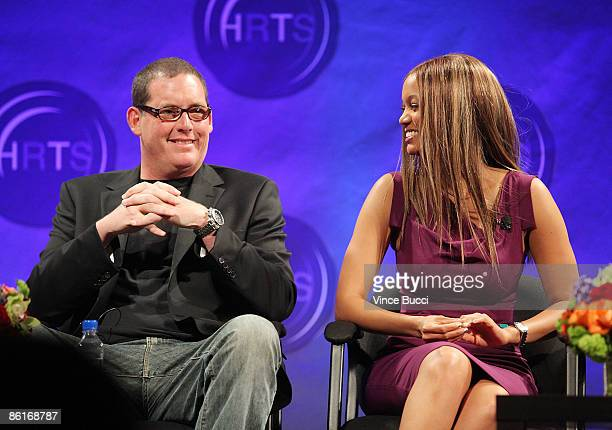 Mike Fleiss founder Next Entertainment and talk show host Tyra Banks attend The Hollywood Radio and Television Society's Newsmaker Luncheon...