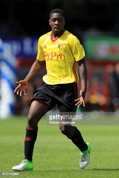 Mike Folivi of Watford in action during the preseason friendly match between Woking and Watford U23 at the Laithwaite Community Stadium on July 08...