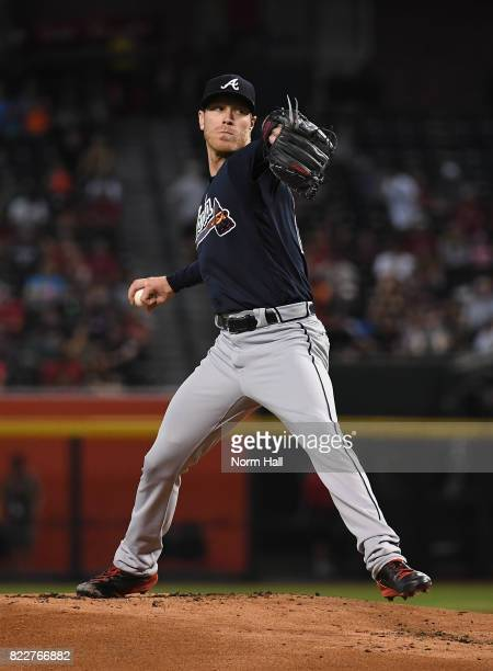 Mike Foltynewicz of the Atlanta Braves delivers a first inning pitch against the Arizona Diamondbacks at Chase Field on July 25 2017 in Phoenix...
