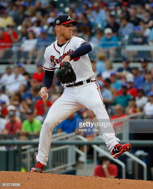 Mike Foltynewicz of the Atlanta Braves in action against the Milwaukee Brewers at SunTrust Park on June 23 2017 in Atlanta Georgia