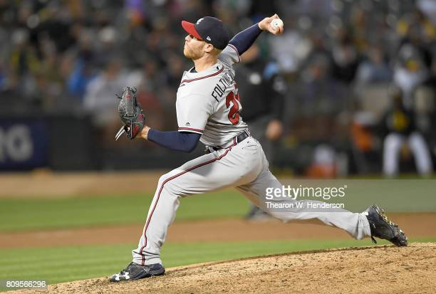 Mike Foltynewicz of the Atlanta Braves pitches against the Oakland Athletics in the bottom of the six inning at Oakland Alameda Coliseum on June 30...