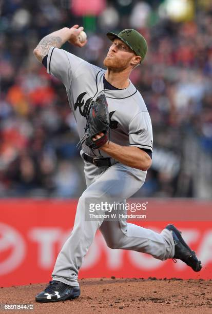 Mike Foltynewicz of the Atlanta Braves pitches against the San Francisco Giants in the bottom of the first inning at ATT Park on May 27 2017 in San...