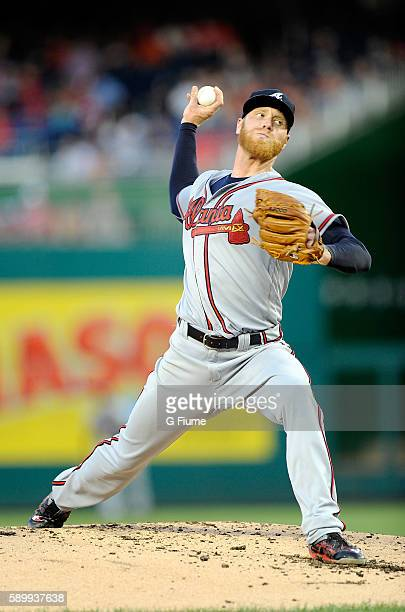 Mike Foltynewicz of the Atlanta Braves pitches against the Washington Nationals at Nationals Park on August 12 2016 in Washington DC