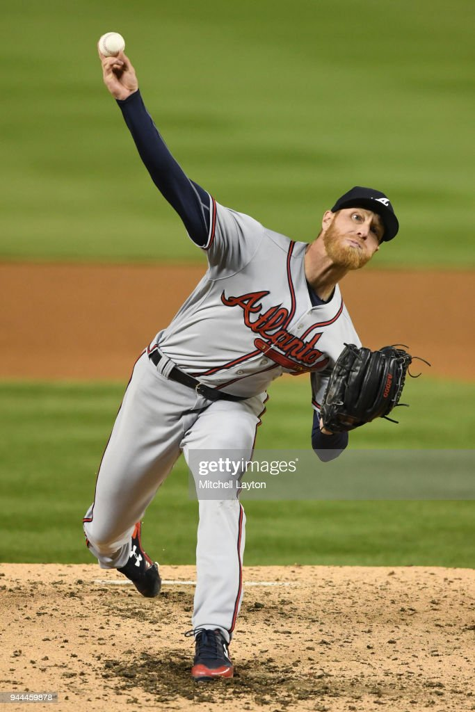 Mike Foltynewicz #26 of the Atlanta Braves pitches in the fifth inning during a baseball game against the Washington Nationals at Nationals Park on April 10, 2018 in Washington, DC.