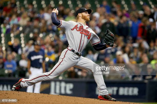 Mike Foltynewicz of the Atlanta Braves pitches in the first inning against the Milwaukee Brewers at Miller Park on April 30 2017 in Milwaukee...