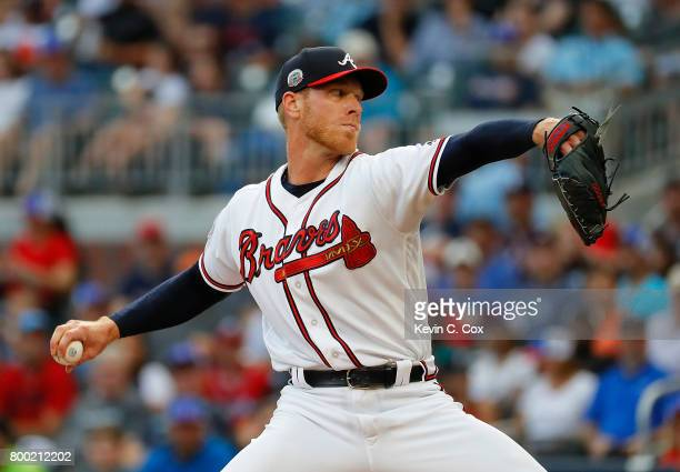 Mike Foltynewicz of the Atlanta Braves pitches in the first inning against the Milwaukee Brewers at SunTrust Park on June 23 2017 in Atlanta Georgia