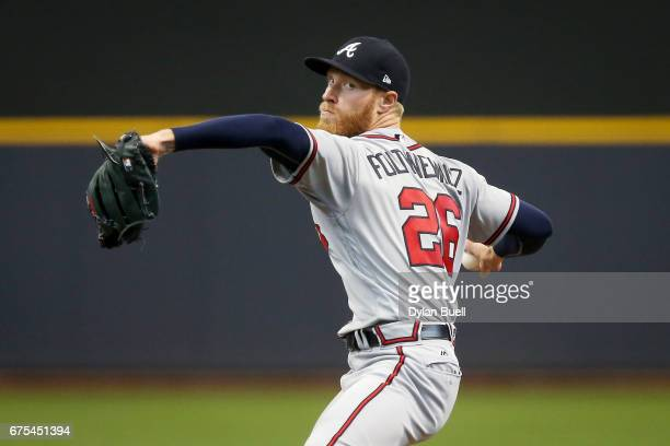 Mike Foltynewicz of the Atlanta Braves pitches in the fourth inning against the Milwaukee Brewers at Miller Park on April 30 2017 in Milwaukee...