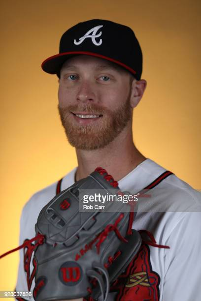 Mike Foltynewicz of the Atlanta Braves poses for a photo during photo days at Champion Stadium on February 22 2018 in Lake Buena Vista Florida