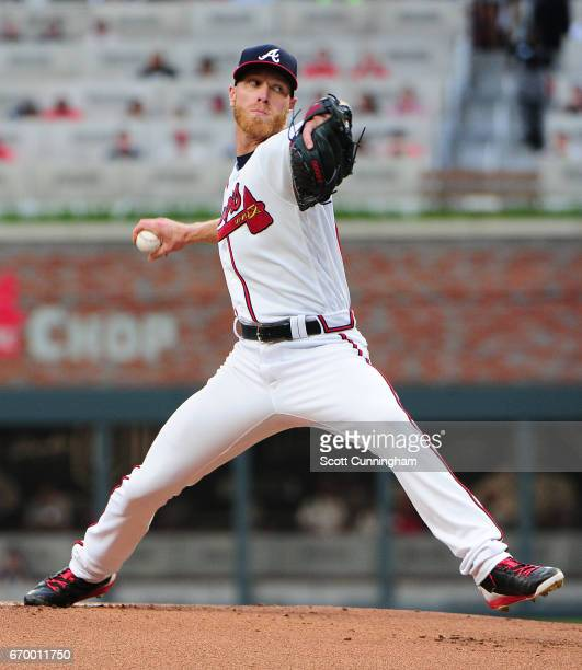 Mike Foltynewicz of the Atlanta Braves throws a first inning pitch against the Washington Nationals at SunTrust Park on April 18 2017 in Atlanta...