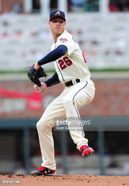 Mike Foltynewicz of the Atlanta Braves throws a first inning pitch against the Arizona Diamondbacks at SunTrust Park on July 15 2017 in Atlanta...
