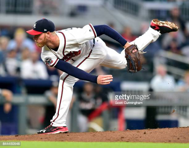Mike Foltynewicz of the Atlanta Braves throws a first inning pitch against the Miami Marlins at SunTrust Park on September 8 2017 in Atlanta Georgia