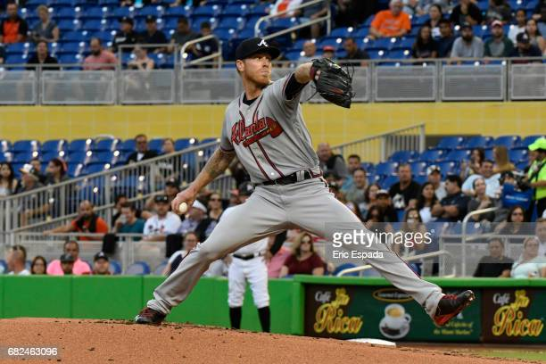 Mike Foltynewicz of the Atlanta Braves throws a pitch during the first inning against the Miami Marlins at Marlins Park on May 12 2017 in Miami...