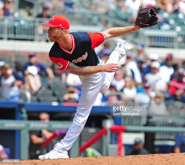 Mike Foltynewicz of the Atlanta Braves throws a third inning pitch against the Colorado Rockies at SunTrust Park on August 27 2017 in Atlanta Georgia